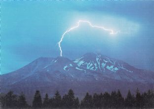 Mount Shasta Blank Greetings Card - Lightning - SALE